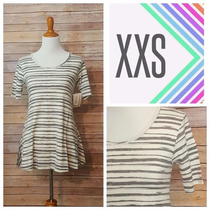 LuLaRoe Perfect T XXS White Gray Striped NWT #LuLaRoe #KnitTop