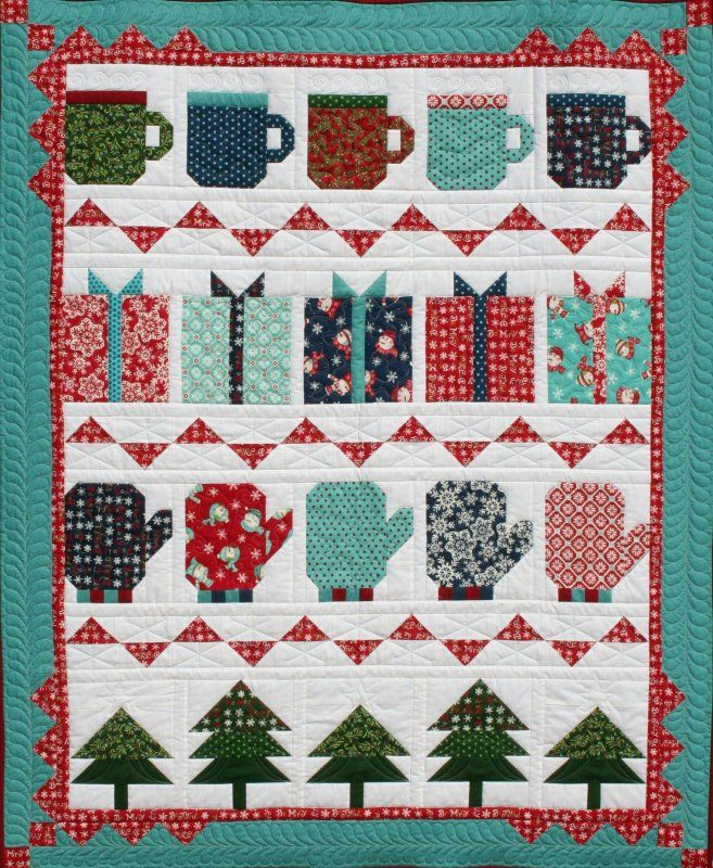 My Favorite Things Quilt Kit Borders are Aqua with Red Dots available at http://www.oldsouthfabrics.com/shop/Quilt-Kits-and-More-.htm