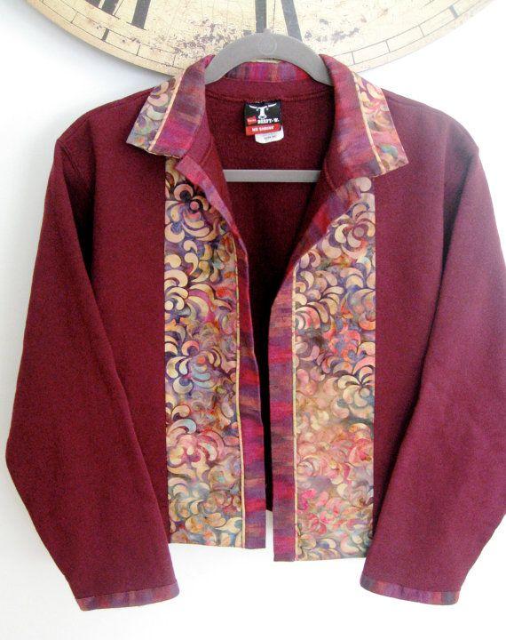 Batik Quilted Sweatshirt Jacket in Burgundy and by SallyManke, $49.00