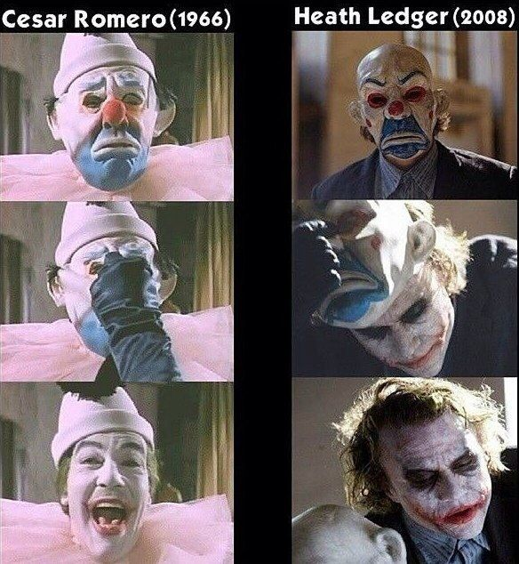 "longlivethebat-universe: ""The first appearances of The Joker from Batman 1966 and The Dark Knight """