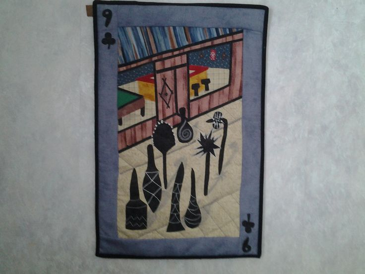 9 of clubs playing card quilt