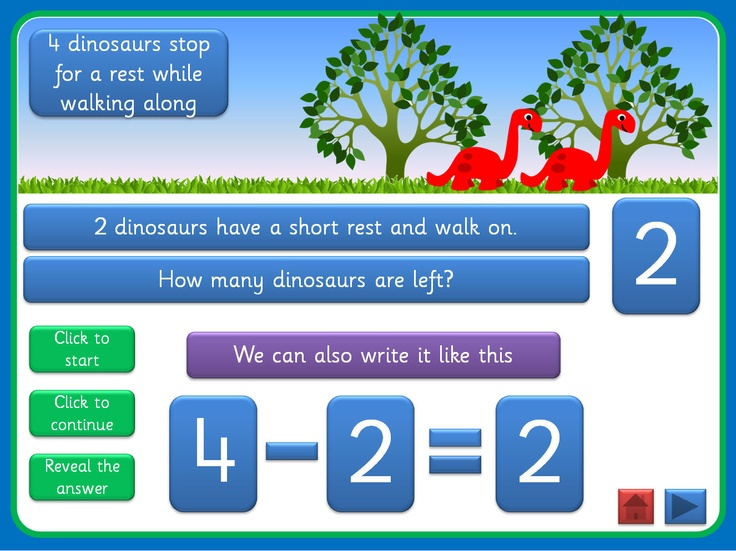 Basic subtraction PowerPoint, with a dinosaur theme, that uses motion paths, triggers and action buttons. Can be used in a number of ways, with young children or those with special educational needs, and full instructions are included. Offers plenty of opportunity for discussion and mathematical vocabulary. Could be used as a whole class, small group or 1:1 activity