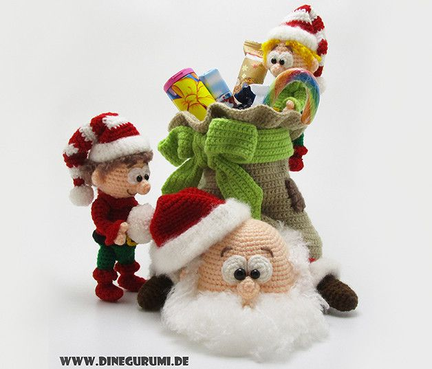 Weihnachtsmann Amigurumi Häkelanleitung von Dinegurumi auf DaWanda.com