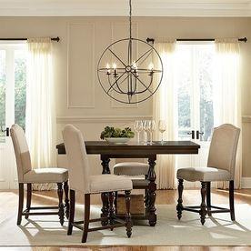 Baxton Studio Zachary Dark Brown Dining Set With Rectangular Counter Table Dc18836p 5Pc Pub Set