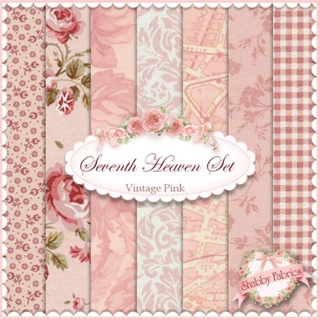 "Seventh Heaven 7 FQ Set - Vintage Pink: This Seventh Heaven Set is an exclusive Shabby Fabrics creation!  We have taken the guesswork out of finding coordinating fabrics.  This set contains 7 coordinating fat quarters, each measuring approximately 18"" x 21""."