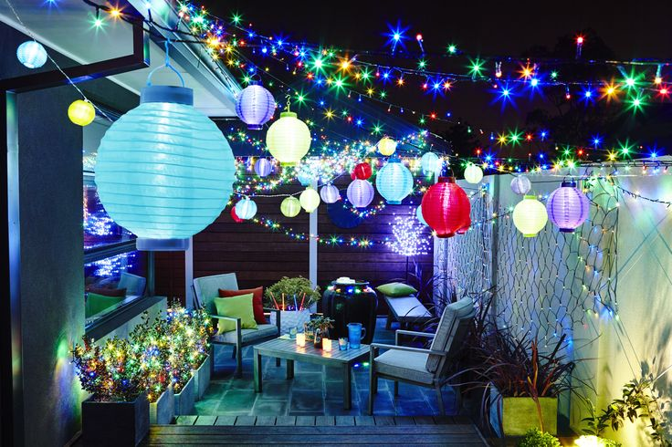 Light up your party with these vibrant colours #lanterns #fairylights #outdoor