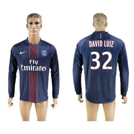 PSG 16-17 #David Luiz 32 Hjemmebanetrøje Lange ærmer,245,14KR,shirtshopservice@gmail.com