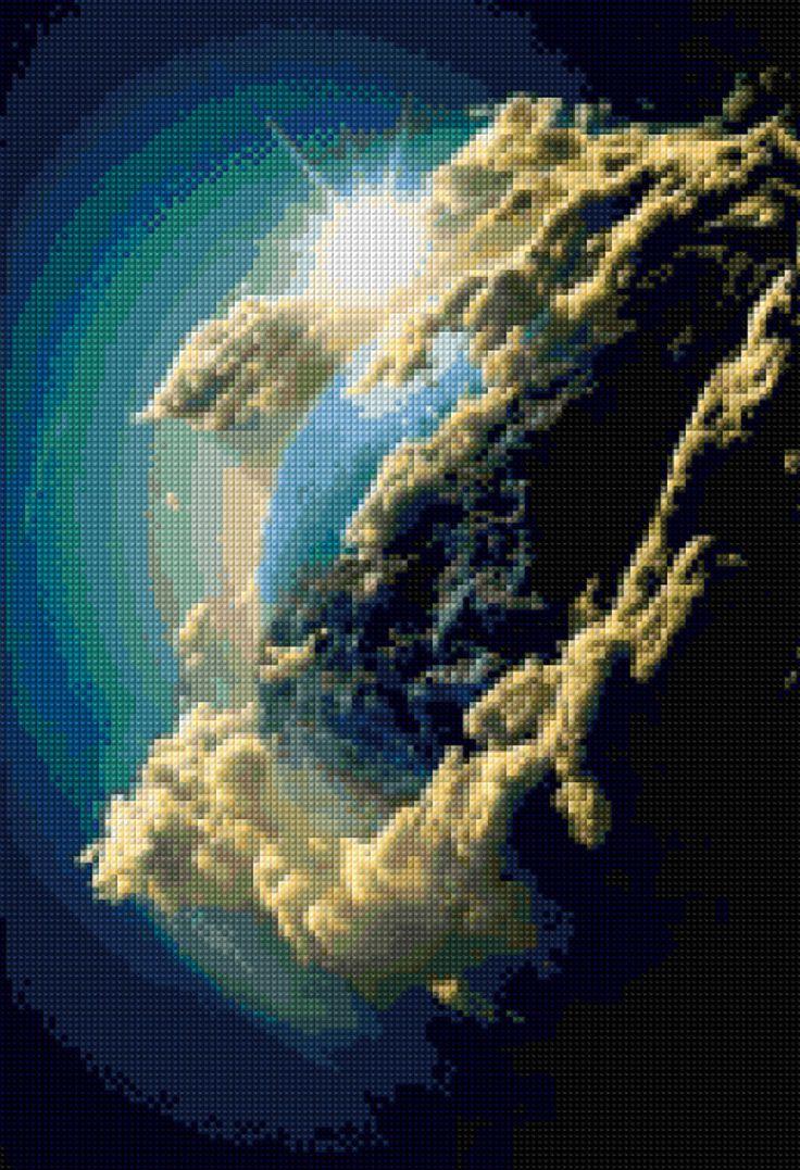 Earth from Hubble telescope Cross Stitch pattern PDF – Instant Download – Ann