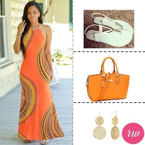 Cute Weekend Outfits - Geometric Print Orange Swirl. www.rosyweekend.com