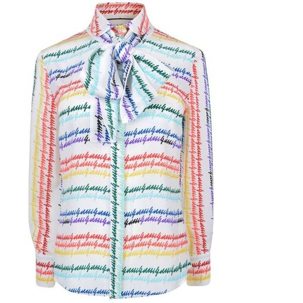 Gucci Silk Pussybow Blouse (£725) ❤ liked on Polyvore featuring tops, blouses, shirts, ivory rainbow, print shirts, tie neck blouse, long-sleeve shirt, silk neck ties and neck tie blouse