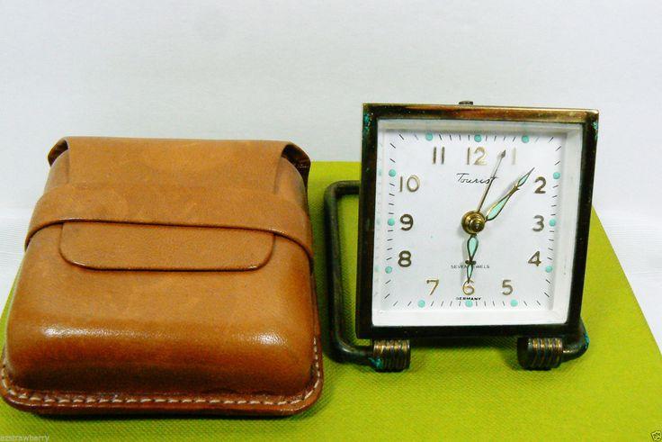 Vtg Enver Clock Watch Made Germany Travel Alarm Clock 7 Lewels Leather Pouch | eBay