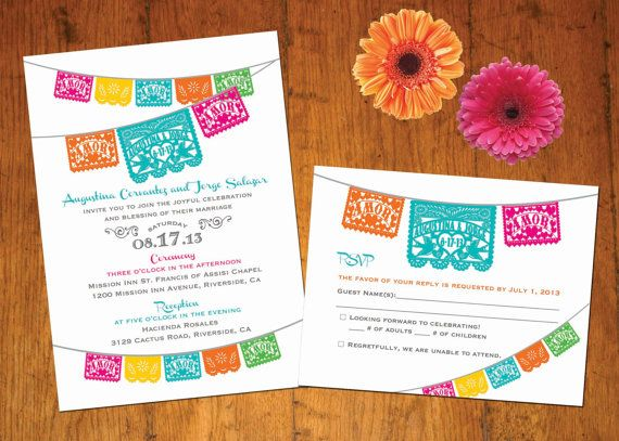 Invitation & RSVP Love Birds Papel Picado banner Fiesta Wedding, Engagement, Shower -  I design you print. $45.00, via Etsy.