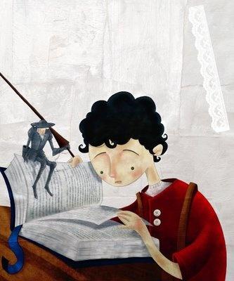 Llegint el Quixot, en companyia del cavaller; il·lustració d'Alexandre Rampazo