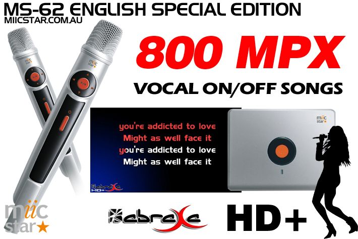 The English Special Edition Miic Star Karaoke System with 800 HD/MP4 songs complete with switchable on/off cover vocals from Abraxa Karaoke.