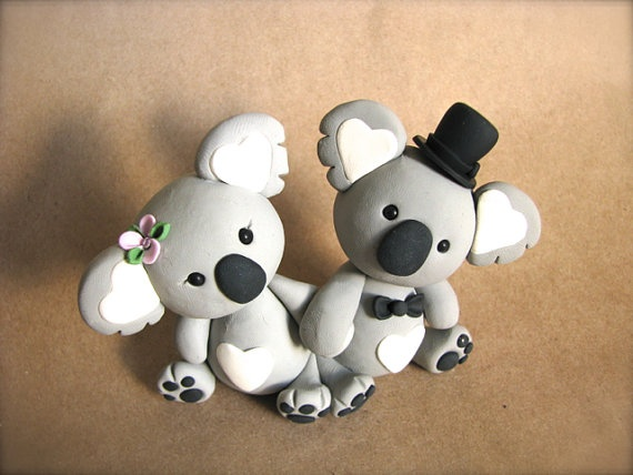 My favorite animal :) and So cute!  koala love Wedding Cake Topper by derekwoolever on Etsy, $70.00