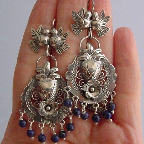 Mexican earrings lovebirds with filigree flower heart by titarubli, $145.00
