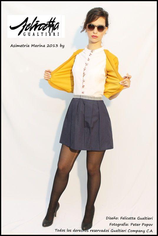 Fabulosa Propuesta Felicetta Gualtieri !   Camisa Cuello Mao - Botones en tela Chaqueta 3/4 Asimétrica Falda Corte alto - Detalles Botones en tela   Colección Asimetria Marina 2013 Chequea - Compra - Luce FG !!
