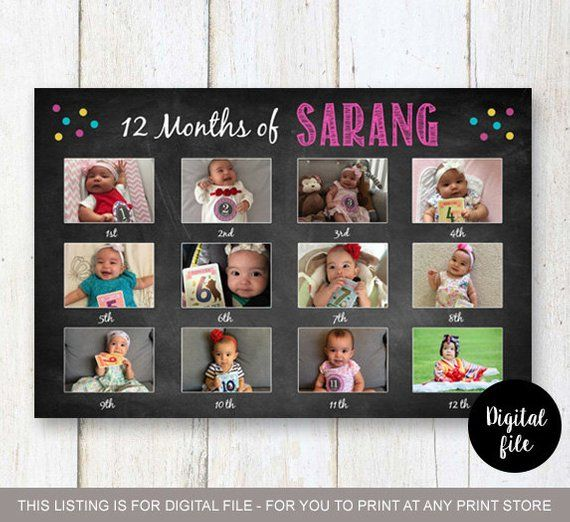 Large First 12 Months Baby Picture Collage Board Baby S First Year Month To Month 1st Birthday Photo Collage Sign Digital File Birthday Photo Collage Birthday Photo Frame Baby Month By Month