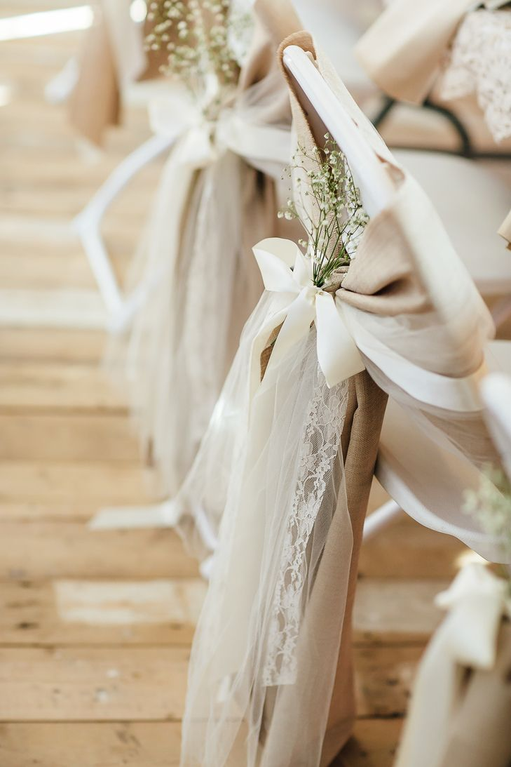 Blush Chair Ribbons and Baby's Breath | Lyn Ismael Photography