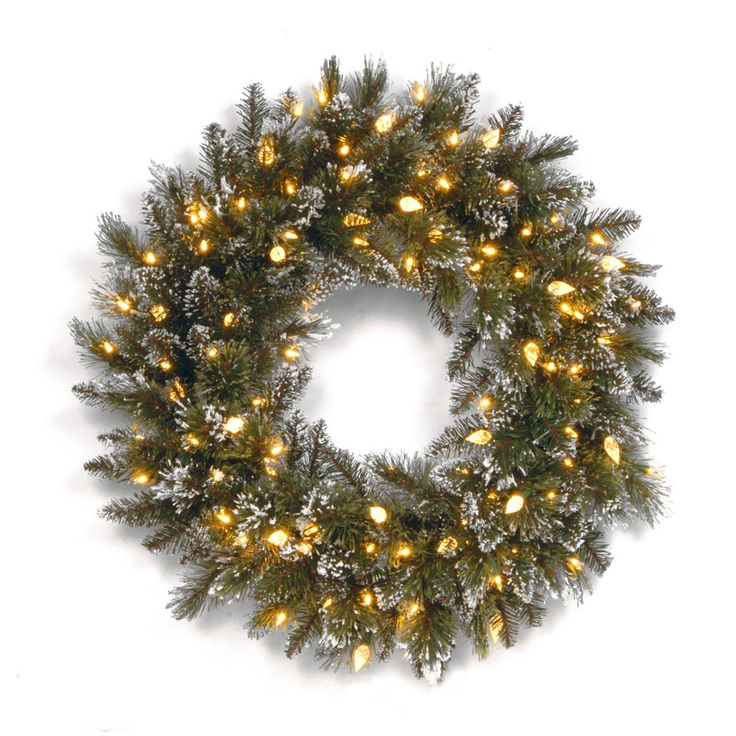 glittery bristle pine pre lit wreath outdoor wreathswhite - Lighted Outdoor Christmas Wreaths