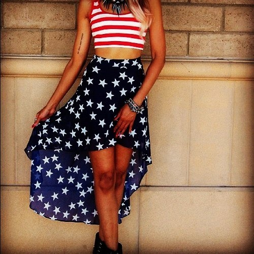High Waisted Skirt with Flag High Low Skirt Detailed for Girls  I Will Remake this Outfit!