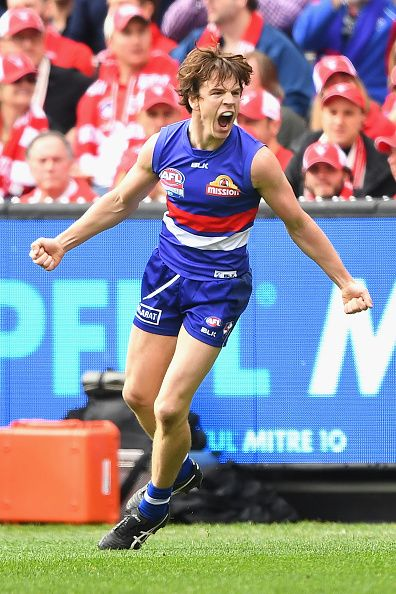 #AFLGF2016 Liam Picken of the Bulldogs celebrates kicking a goal during the 2016 AFL Grand Final match between the Sydney Swans and the Western Bulldogs at...