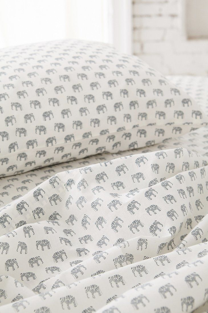 Magical Thinking Woodblock Elephant Pillowcase Set - Urban Outfitters
