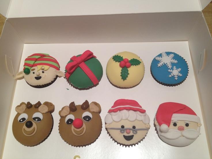 My first ever fondant cupcakes. Christmas theme