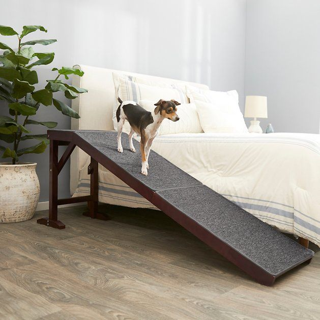 Frisco Deluxe Wood Carpeted Pet Ramp White Chewy Com Pet Ramp Dog Ramp For Bed Dog Ramp