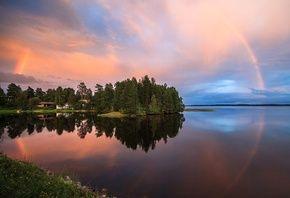 озеро, лето, вечер, радуга, Valtteri Mulkahainen