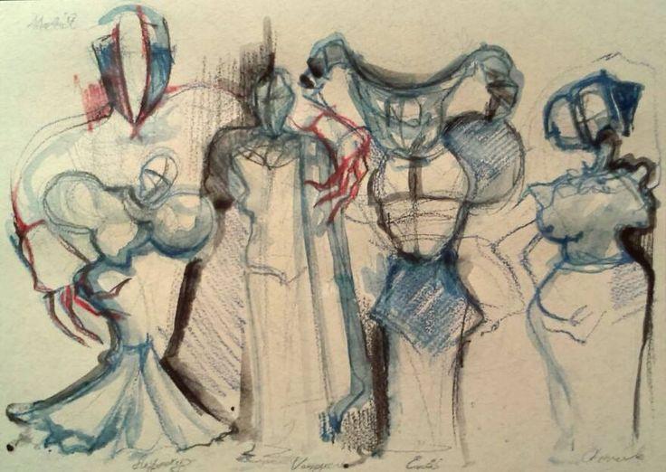 Costume design sketch for Everyman.  #sketch #pencil #aquarel