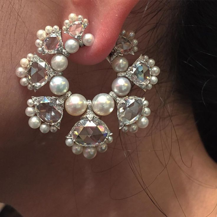 BHAGAT Natural Pearl and Diamond Hoop Earrings #ForSale #BhagatJewels #FDGallery