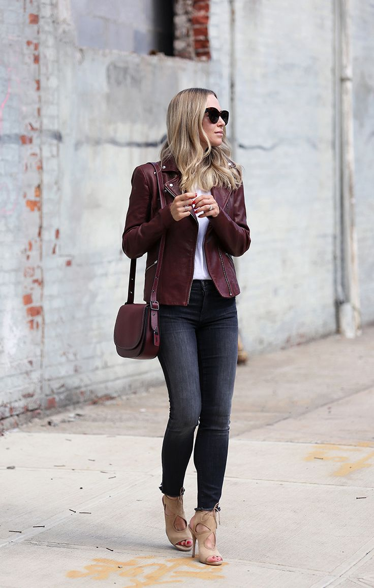 Helena Glazer of Brooklyn Blonde styles a Veda Leather Jacket (suede) with  Curret/Elliott denim, Aquazzura shoes, and Coach Saddle Bag.