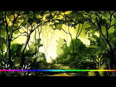 Акварель - зеленая роща простенький пейзаж (для начинающих) - YouTube