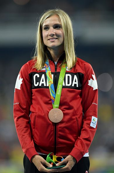Brianne Theisen Eaton of Canada poses with the Bronze Medal for the Heptathlon