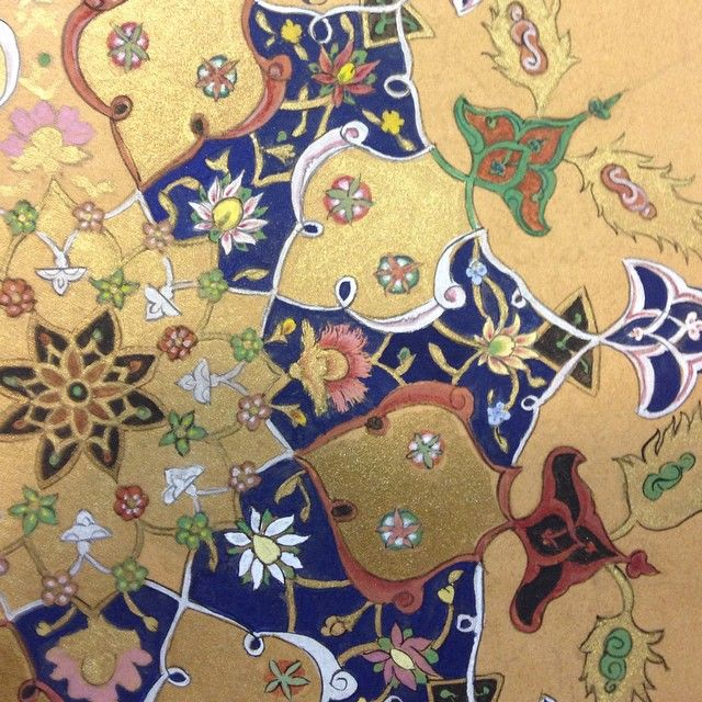 """Ramadan mobarak. Detail of a shamseh on its way. It's going to be the end piece for the """"Seven Beauties"""" exhibition in March 2016. #manuscript #geometry #persianart #colours #illumination #islamicart #tazhib #tezhib #exhibition #art #handmade"""