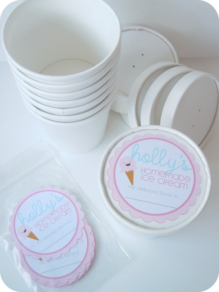 Printable Labels for Home-Made Ice Cream. Too Cute!! (She also shares the source for the containers)