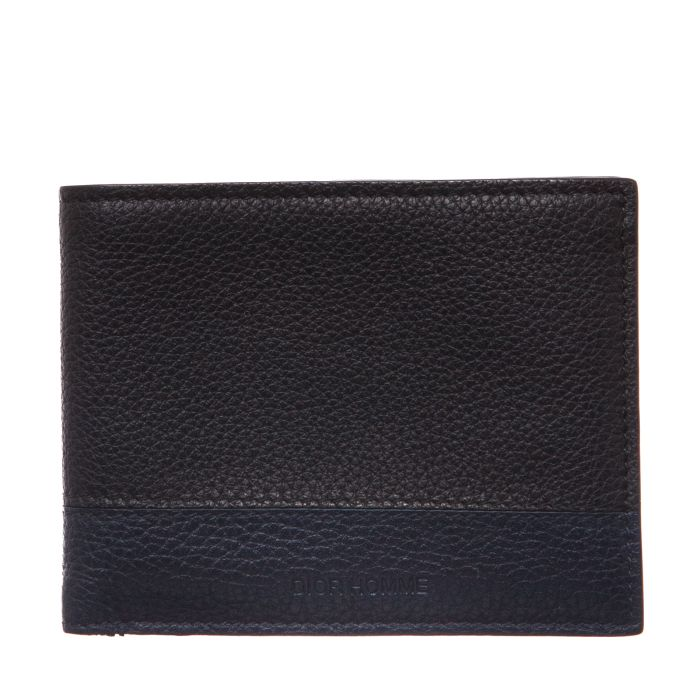 DIOR Homme Black and Navy Pebbled Foldover Wallet - Affordable Luxury