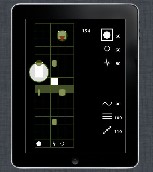 Screenshot from the first prototype of our step-sequencer based musical tower defense game  http://melodefense.com/