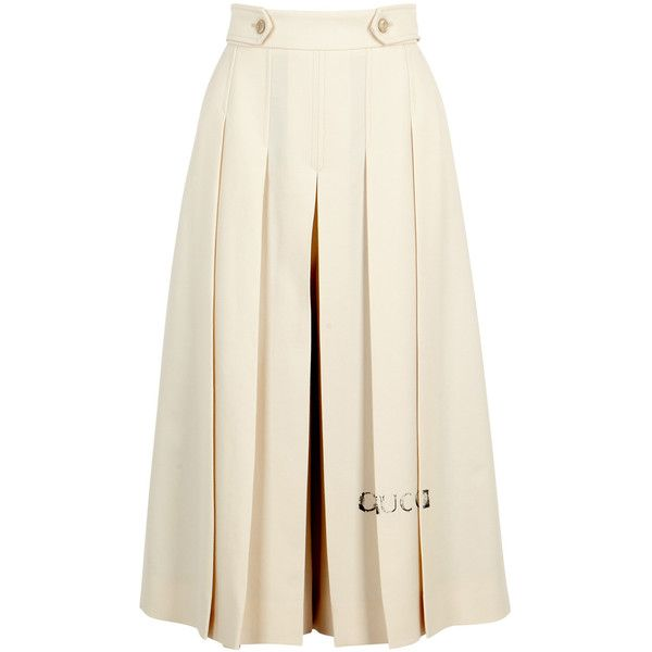 Gucci Ivory Pleated Wool Culottes - Size 8 (€910) ❤ liked on Polyvore featuring pants, skirts, bottoms, gucci trousers, white wool pants, wool trousers, wool pants and pleated trousers