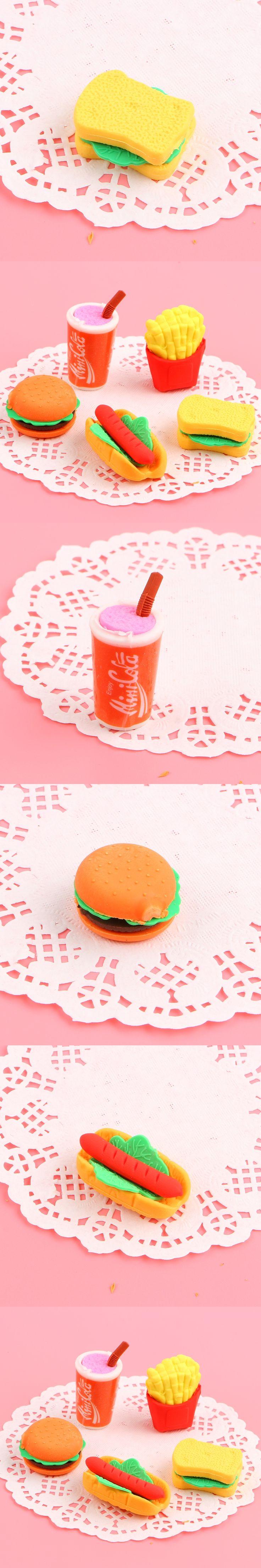 1 pcs Food eraser set for kid's love school eraser kawaii pencil eraser stationery School Supplies free shipping