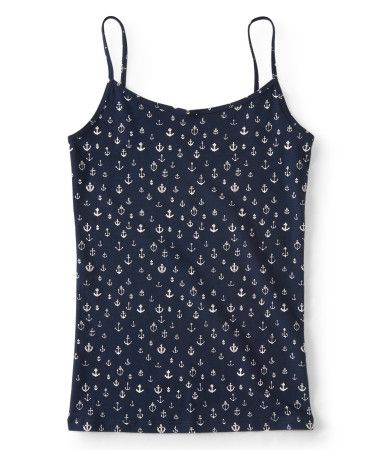"Nautical patterning on our Anchor Basic Cami gives it that preppy look you love to rock! This adorable must-have is perfect for solo wear or as a lightweight layering piece, and a dash of stretch makes the fabric oh-so-comfy.<br><br>Slim fit. Approx. length (S): 24.5""<br>Style: 5834. Imported.<br><br>95% cotton, 5% spandex.<br>Machine wash/dry."