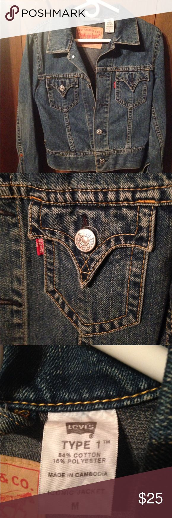 Levi's Jacket Women's Levi's Type 1 Iconic Jacket. This jacket is too cool with the cut, pointed pocket flaps and yoke, wide waist band and cuffs and oversized silver buttons. It's a sweetheart ❤️. And in like new condition... Levi's Jackets & Coats Jean Jackets