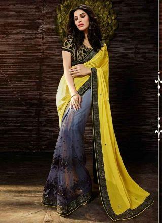 SOPHIE GREY AND YELLOW NET HALF N HALF SAREE  http://www.angelnx.com/Sarees/Bollywood-Sarees