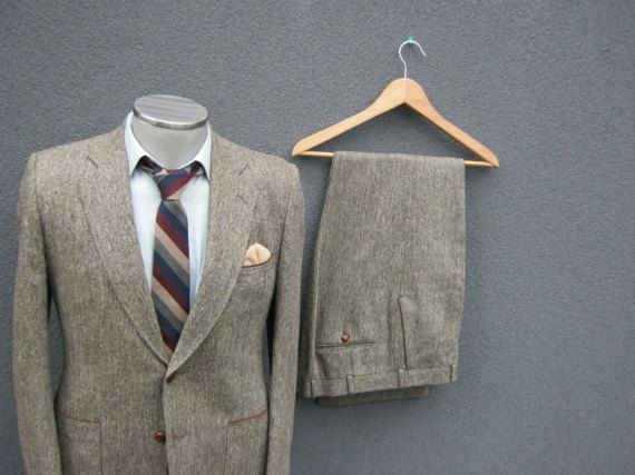 1950s 2pc TWEED Suit Jacket & Trousers / 50s Vintage Grayish