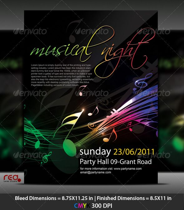Music Party Poster Flyer Template Music party, Party poster and - harmony flyer template