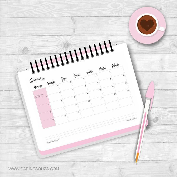 Planner mensal fofo 2017 para imprimir grátis