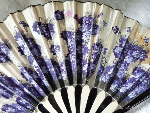 Circa 1900 hand painted French Chateau pleated hand fan, Lovely blue floral design on ecru leaf.w/ alternating ribbing of black white
