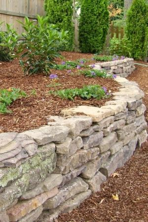 Dry Stacked Stone--raised borders to separate beds from grass