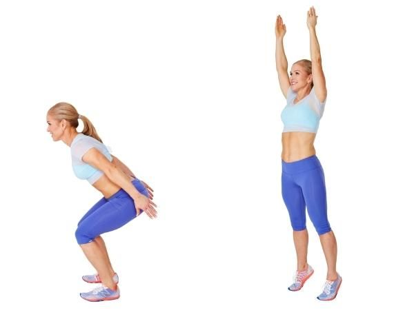Skier Squat - Stand with feet hip-width apart, arms at sides with palms facing in. Lower into a squat, keeping spine straight, chest lifted, and knees behind toes (a). Straighten legs to stand and rise onto balls of feet, sweeping arms overhead (b). Immediately lower into the next squat. Do 20 reps.